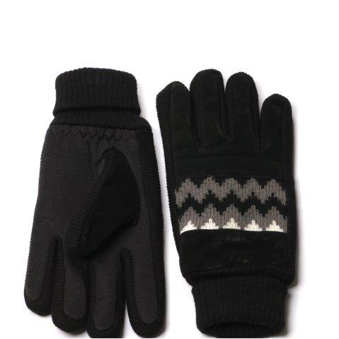 Chic Winter Warn Knit Pattern and Cuff Men Gloves with Non-slip Rubber