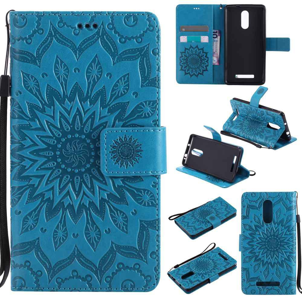 Cheap Embossed Sun Flower PU TPU Phone Case for Xiaomi Red Note3
