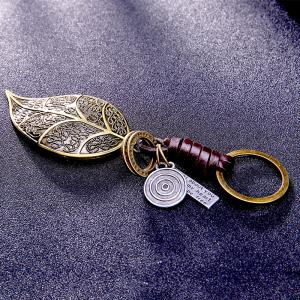 Men's Key Rings Stylish Leaf Shape Fashion Alloy Chain Accessories -