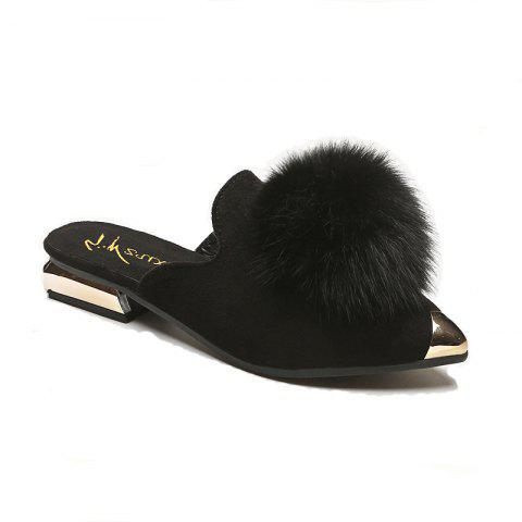 Store Women's Fashion Slippers Stylish Hairy Simple Closed Shoes
