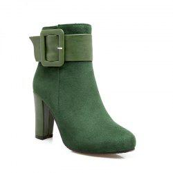 Round Head High Heel Short Boots -