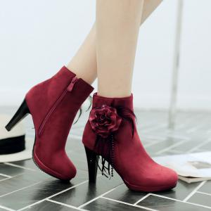 Round Head Heel High Lace Flower Short Boots -