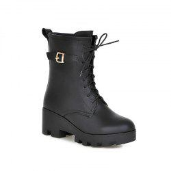 Round Heel Fashion Buckle Martin Boots -