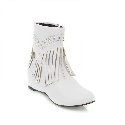 Store Inside The Head Increases The Fashionable Diamond Fringe Short Boots