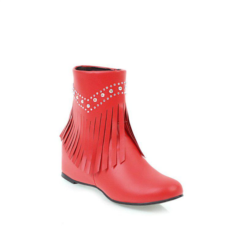 Fancy Inside The Head Increases The Fashionable Diamond Fringe Short Boots