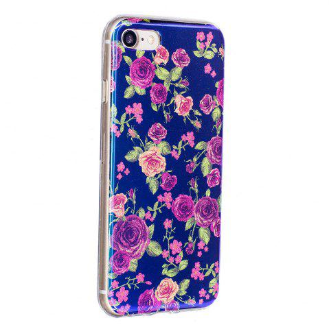 Trendy Blue Glitter Rose Pattern Phone Case for iPhone 8