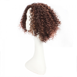 14inch Dark Brown Color Afro Tight Kinky Curly Synthetic Hair Wigs for African American Women -