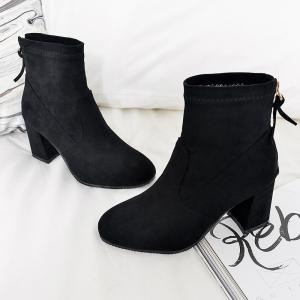Fashion Zipper Heel  Woman Short Boots -