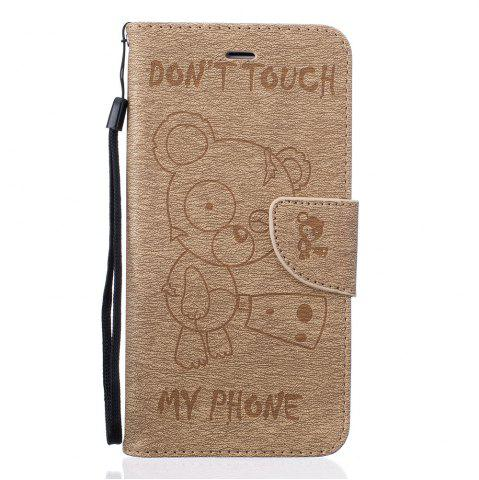 Outfits Little Bear Embossed Wallet Flip PU Leather Card Holder Standing Phone Case for iPhone 6 Plus / 6s Plus