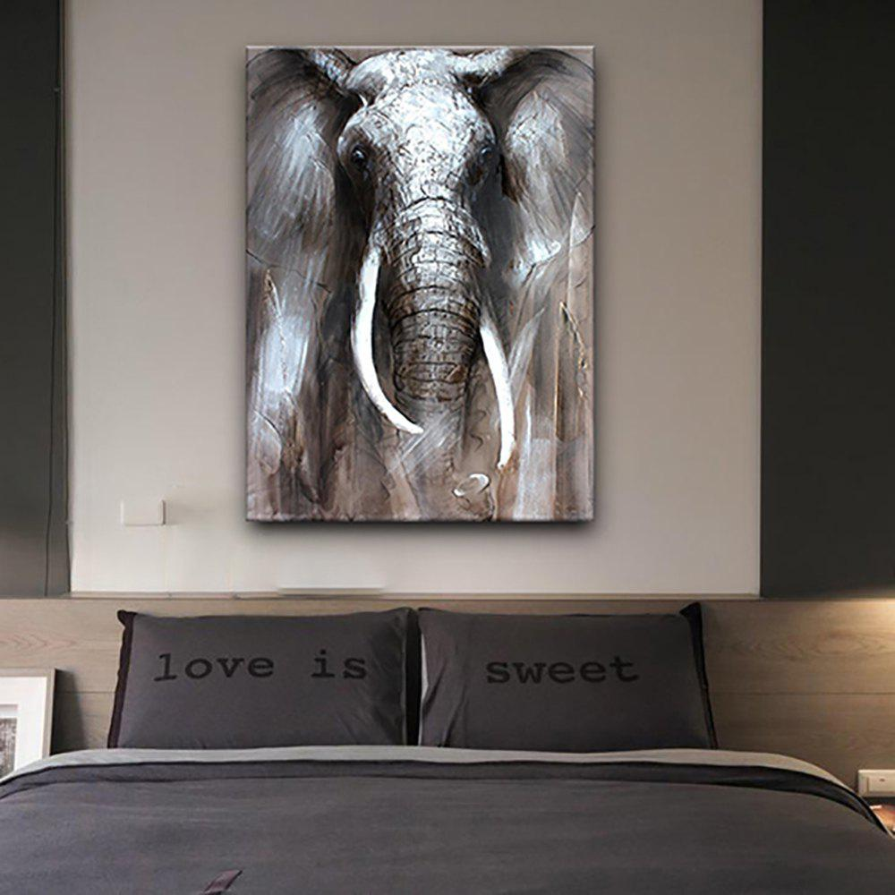 Latest YHHP Hand Painted Black and White Elephants Canvas Oil Painting for Home Decoration