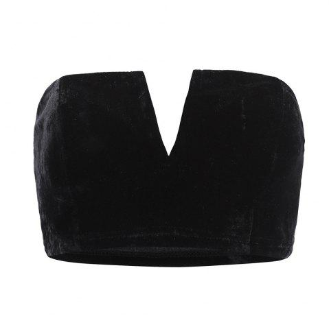 Discount Autumn and Winter Velvet Texture Multicolor Sexy V-neck Fashion  Crop Top