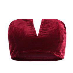 Autumn and Winter Velvet Texture Multicolor Sexy V-neck Fashion  Crop Top -