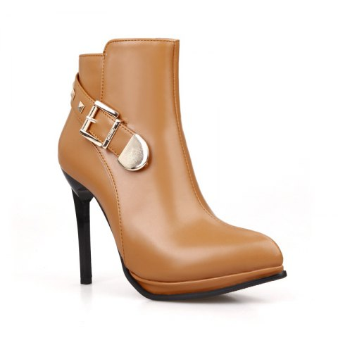 Shop Sharp and High Heel Spike Belt Buckle Short Boots