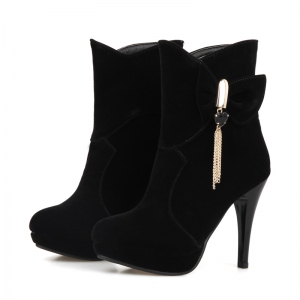 Round Head Waterproof Table and High Heels Sweet Bow Tie Short Boots -