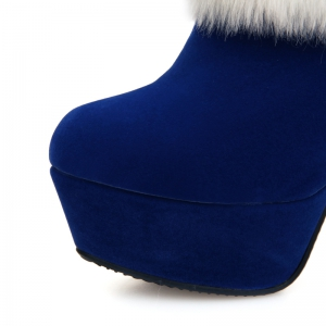 Round Head Waterproof Table Fine Heel High Heels  Sexy Short Boots -