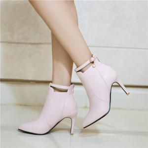 Stiletto Heels and Fashionable Buckle Buttons Short Boots -