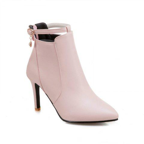 Discount Stiletto Heels and Fashionable Buckle Buttons Short Boots