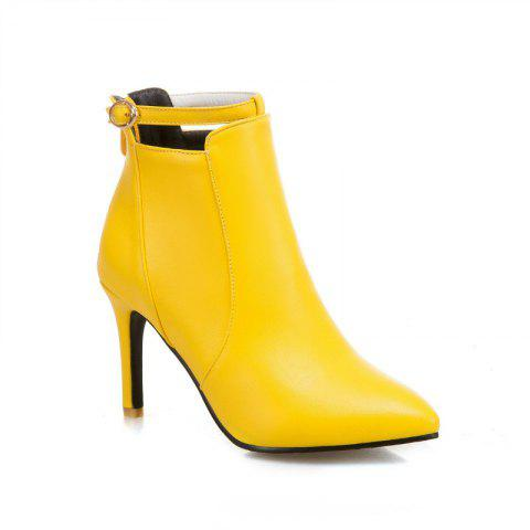 Shops Stiletto Heels and Fashionable Buckle Buttons Short Boots