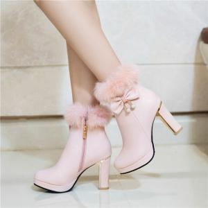 Round and Thick High Heel Sweet Bow Tie Short Boots -