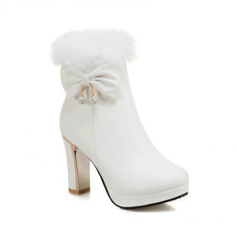 Unique Round and Thick High Heel Sweet Bow Tie Short Boots