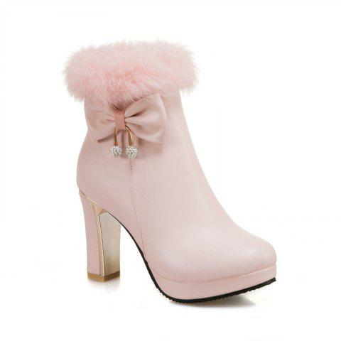 Latest Round and Thick High Heel Sweet Bow Tie Short Boots