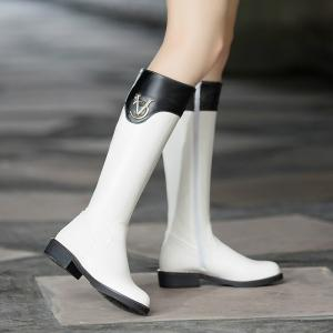 Round Head with Low Heel Fashion Knight Boots and Color Matching -