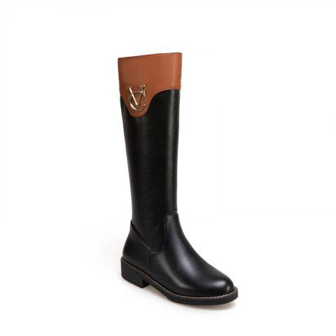 Online Round Head with Low Heel Fashion Knight Boots and Color Matching