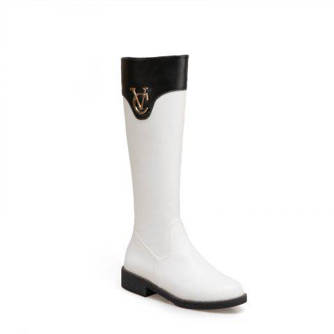 Cheap Round Head with Low Heel Fashion Knight Boots and Color Matching
