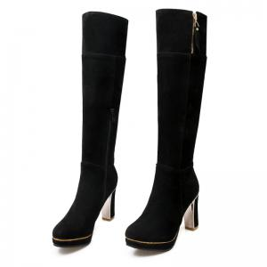 Round Head Waterproof Platform and Heel Fashion Knight Boots -