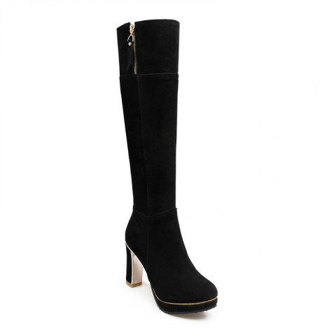 Affordable Round Head Waterproof Platform and Heel Fashion Knight Boots