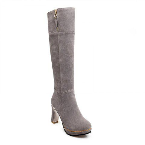 Trendy Round Head Waterproof Platform and Heel Fashion Knight Boots
