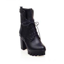 Round Head Waterproof Platform and Coarse Heel High Tie Martin Boots -