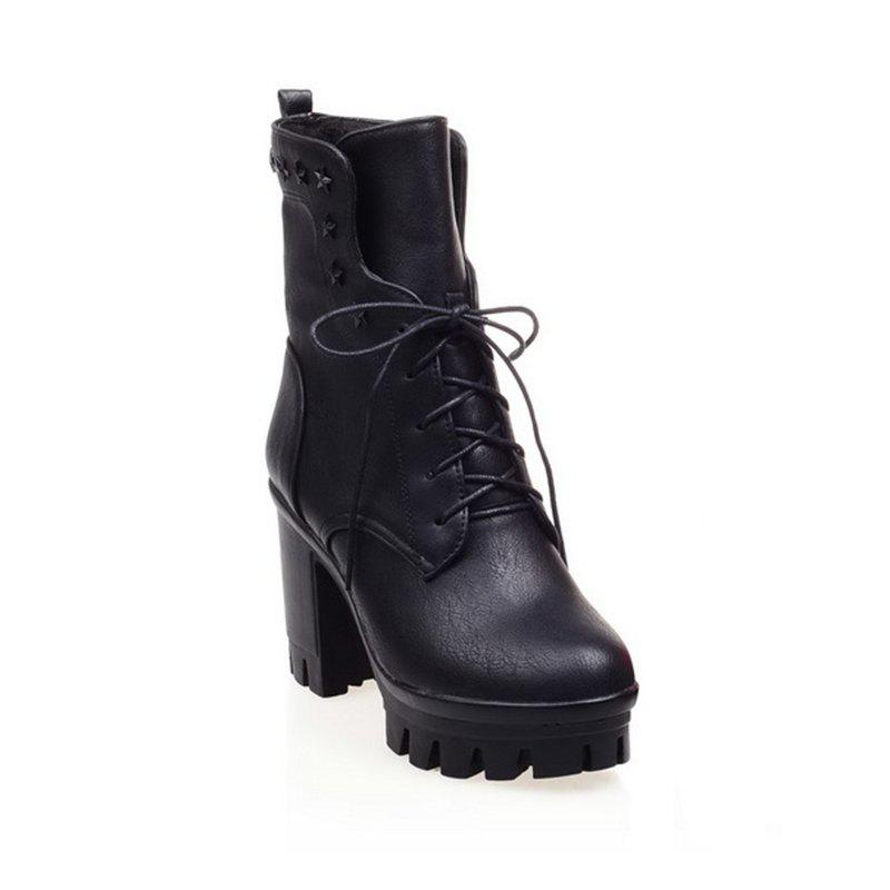 Outfit Round Head Waterproof Platform and Coarse Heel High Tie Martin Boots