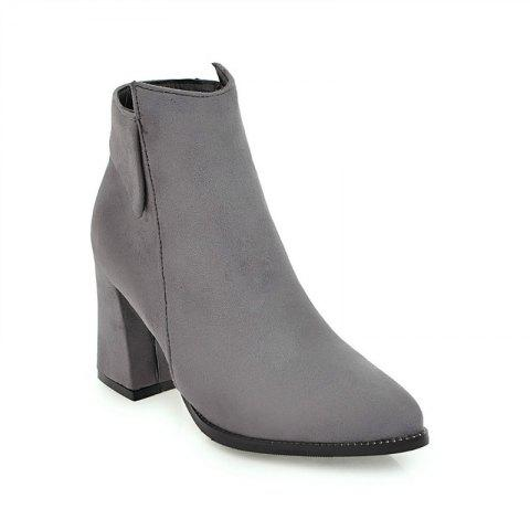 Trendy Pointy Thick Heel Short Boots