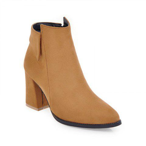 Shop Pointy Thick Heel Short Boots