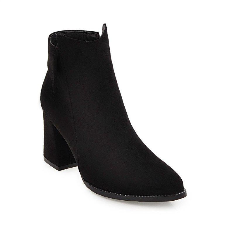 Buy Pointy Thick Heel Short Boots