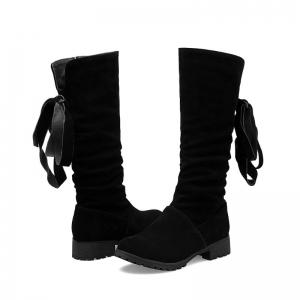 Round Head Low Heel Tie Bowknot Fashion High Boots -