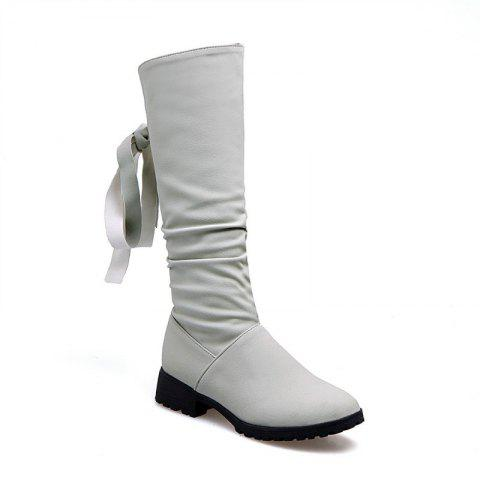Cheap Round Head Low Heel Tie Bowknot Fashion High Boots