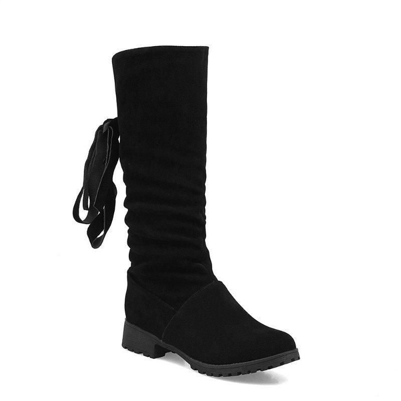 Fashion Round Head Low Heel Tie Bowknot Fashion High Boots