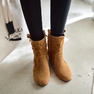 Inside Round Head Heighten Simple Short Boots -