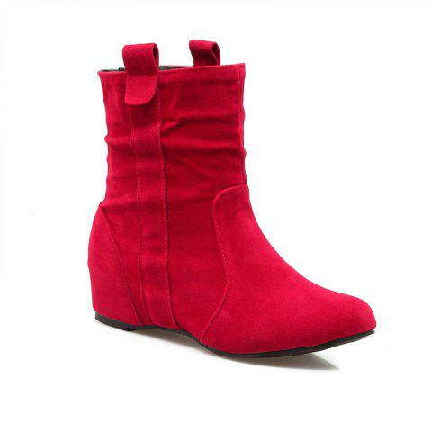Chic Inside Round Head Heighten Simple Short Boots