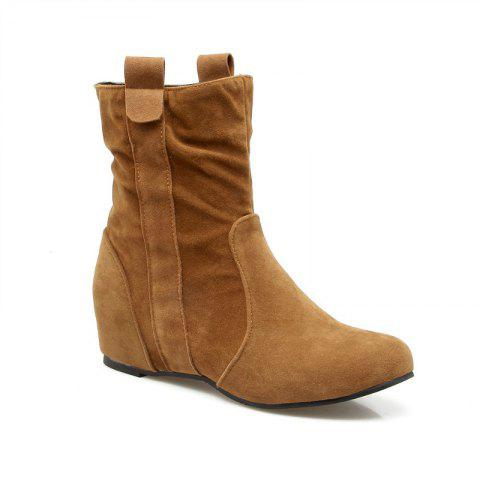 Hot Inside Round Head Heighten Simple Short Boots