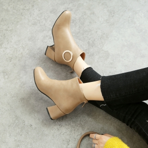 Square with Thick and All-Match Short Boots -