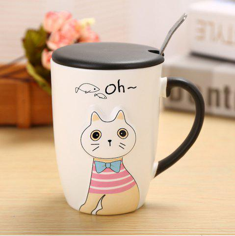 Affordable 375ML Relief Animal Cat Ceramic Mug