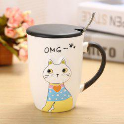 Tasse en céramique de chat d'animal de secours 375ML -