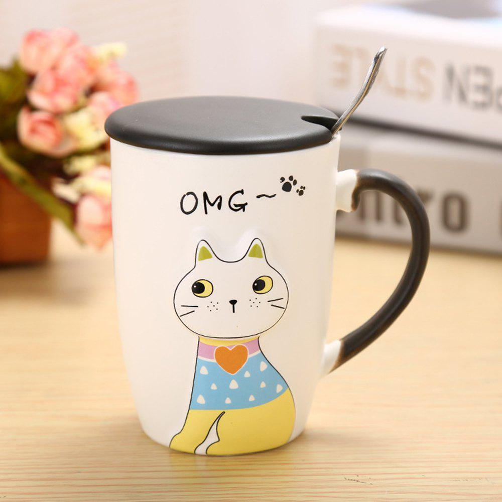 Tasse en céramique de chat d'animal de secours 375ML