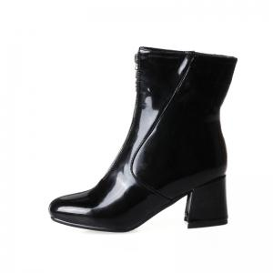Square-Head Rough Heel with Sexy Patent Leather Ankle Boots -