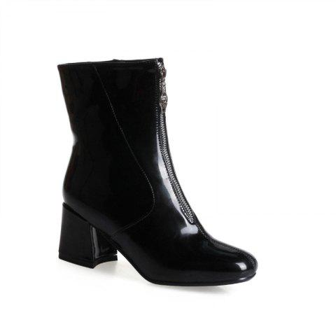 Hot Square-Head Rough Heel with Sexy Patent Leather Ankle Boots