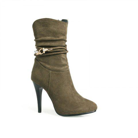 Hot The Spires with High Heels and Sexy Suede Boots