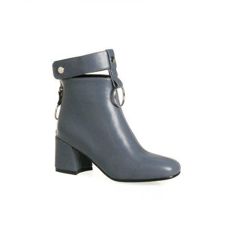Trendy The Square Head Thick Heel with The Vogue Hollowout Short Boots